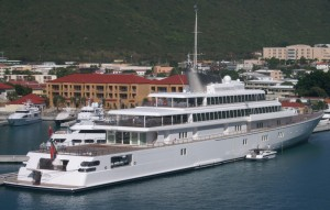 The Rising Sun, largest privately owned yacht in the world, in St. Thomas, U.S.V.I.