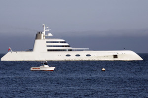 Aug. 12, 2010 - Malibu, California, USA - A 00 million yacht owned by 38-year-old Russian billionaire Andrey Melnichenko, has been anchored off the coast of Malibu the last few days. The 394-foot yacht is en route from San Diego to San Francisco. The yacht features elaborate dýcor, a 2,500 square-foot master suite and three swimming pools on board.